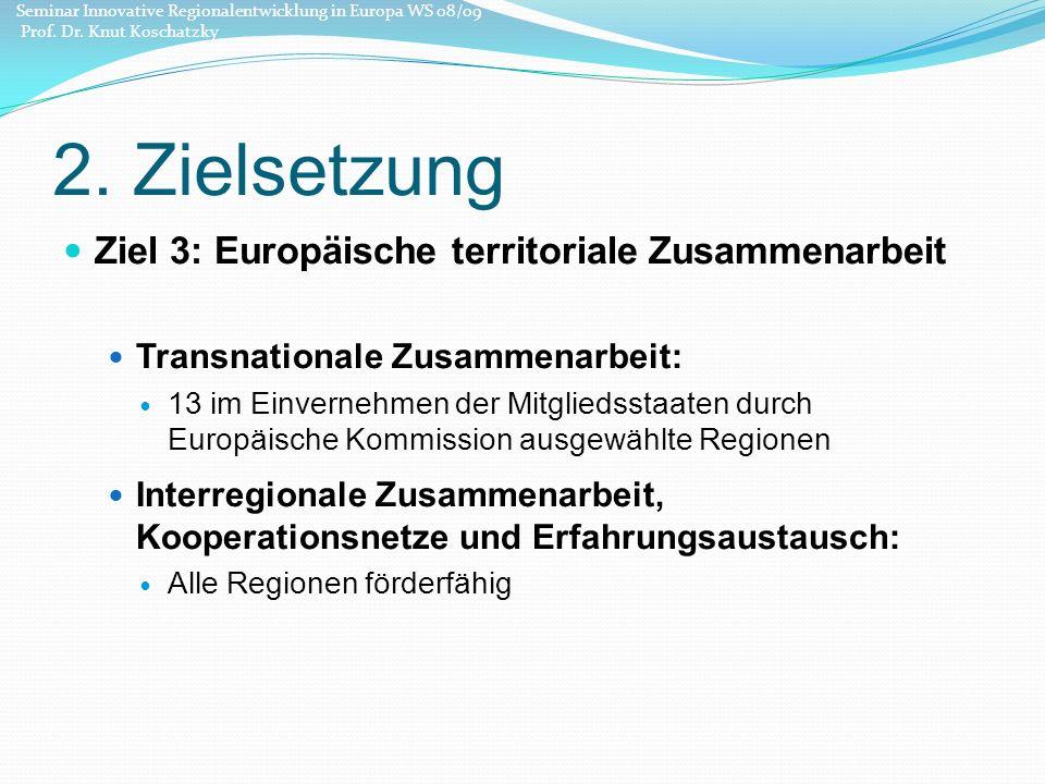 2. Zielsetzung Ziel 3: Europäische territoriale Zusammenarbeit Transnationale Zusammenarbeit: 13 im Einvernehmen der Mitgliedsstaaten durch Europäisch