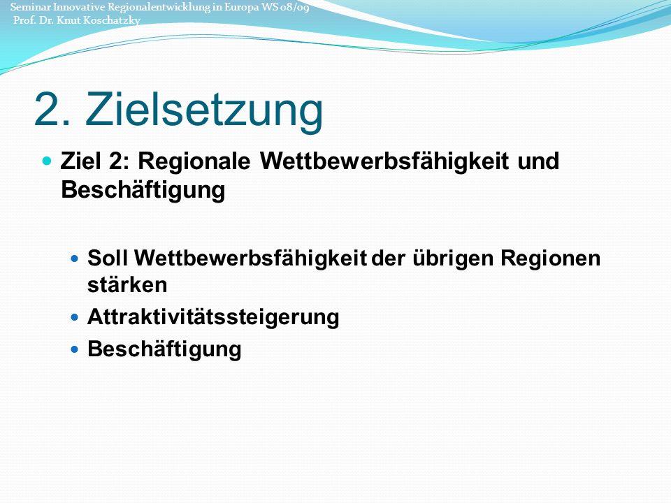 2. Zielsetzung Ziel 2: Regionale Wettbewerbsfähigkeit und Beschäftigung Soll Wettbewerbsfähigkeit der übrigen Regionen stärken Attraktivitätssteigerun