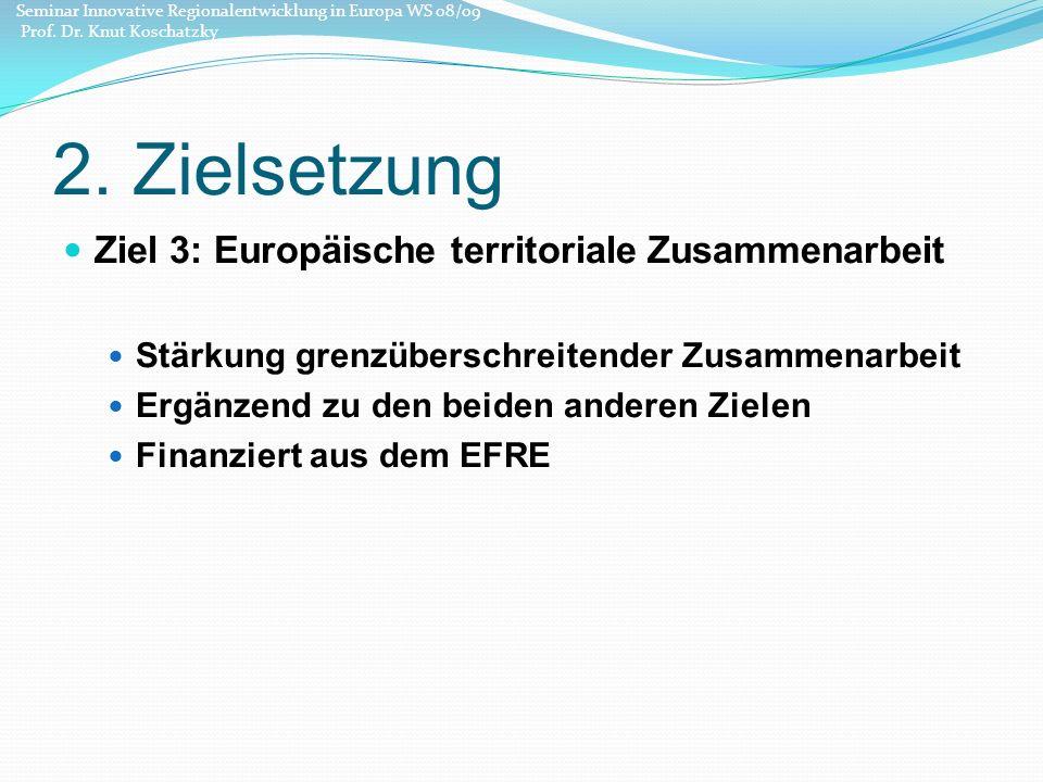 2. Zielsetzung Ziel 3: Europäische territoriale Zusammenarbeit Stärkung grenzüberschreitender Zusammenarbeit Ergänzend zu den beiden anderen Zielen Fi