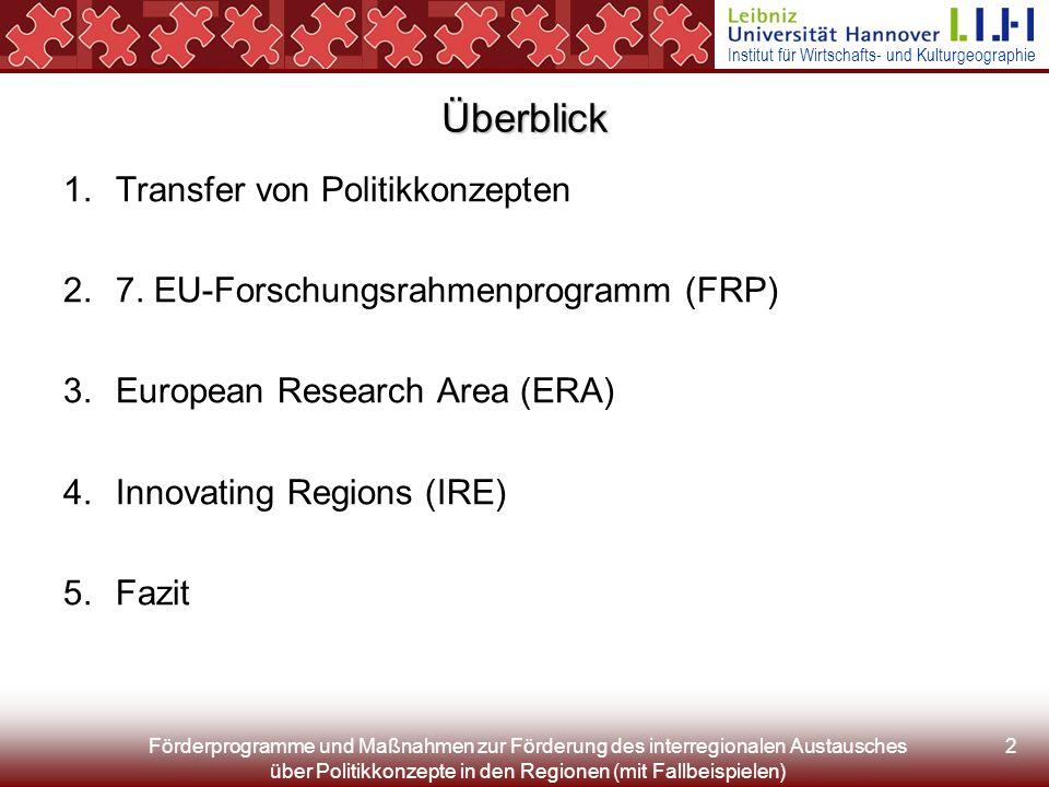 Institut für Wirtschafts- und Kulturgeographie Förderprogramme und Maßnahmen zur Förderung des interregionalen Austausches über Politikkonzepte in den Regionen (mit Fallbeispielen) 43 Literatur (2) ERA-NET plus actions: http://www.eubuero.de/arbeitsbereiche/eranet/dtmlInhalt1/wed/Download/dat_/fil_2164 (A: 3.7.07) ERA-NET leaflet: http://ec.europa.eu/research/fp6/pdf/era-net-leaflet_de.pdf (E: 6/2003, A: 3.7.07) ERA-NET Review 2006 ftp://ftp.cordis.europa.eu/pub/coordination/docs/era_net_review_report_dec2006_en.pdf (E: 12/2006, A: 3.7.07) EU-Büro des BMBF: ERA-NET http://www.eubuero.de/arbeitsbereiche/eranet (E: k.A., A: 3.7.07) Europäische Kommission (Hg.), 2006: ERA-NET Series V.
