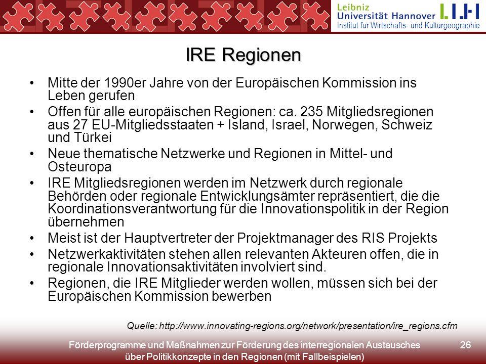 Institut für Wirtschafts- und Kulturgeographie Förderprogramme und Maßnahmen zur Förderung des interregionalen Austausches über Politikkonzepte in den Regionen (mit Fallbeispielen) 26 IRE Regionen Mitte der 1990er Jahre von der Europäischen Kommission ins Leben gerufen Offen für alle europäischen Regionen: ca.
