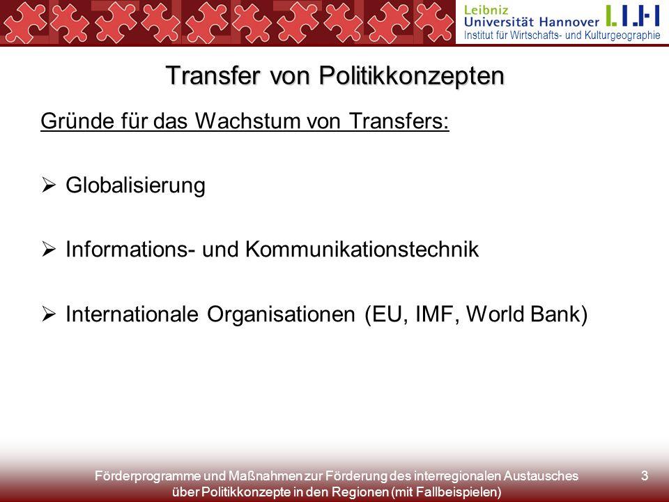 Institut für Wirtschafts- und Kulturgeographie Förderprogramme und Maßnahmen zur Förderung des interregionalen Austausches über Politikkonzepte in den Regionen (mit Fallbeispielen) 3 Transfer von Politikkonzepten Gründe für das Wachstum von Transfers: Globalisierung Informations- und Kommunikationstechnik Internationale Organisationen (EU, IMF, World Bank)