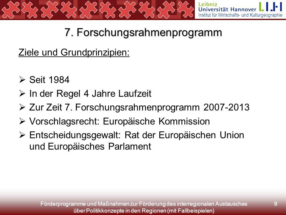 Institut für Wirtschafts- und Kulturgeographie Förderprogramme und Maßnahmen zur Förderung des interregionalen Austausches über Politikkonzepte in den Regionen (mit Fallbeispielen) 9 7.
