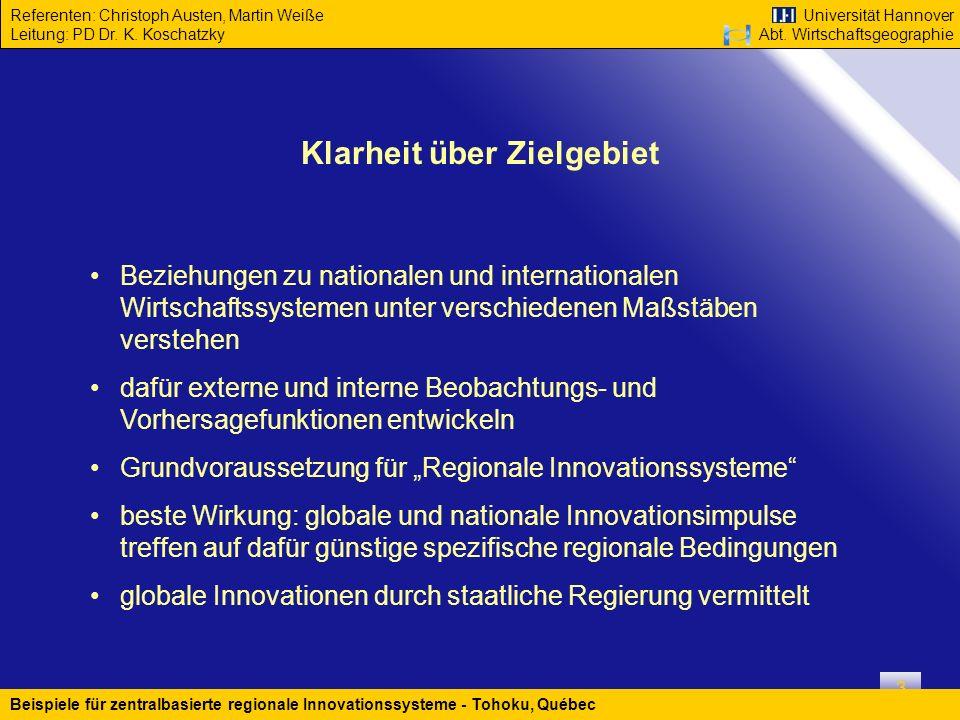 Universität Hannover Abt. Wirtschaftsgeographie Referenten: Christoph Austen, Martin Weiße Leitung: PD Dr. K. Koschatzky Beispiele für zentralbasierte