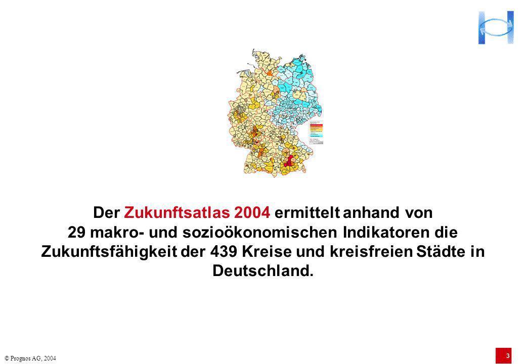 3 Der Zukunftsatlas 2004 ermittelt anhand von 29 makro- und sozioökonomischen Indikatoren die Zukunftsfähigkeit der 439 Kreise und kreisfreien Städte