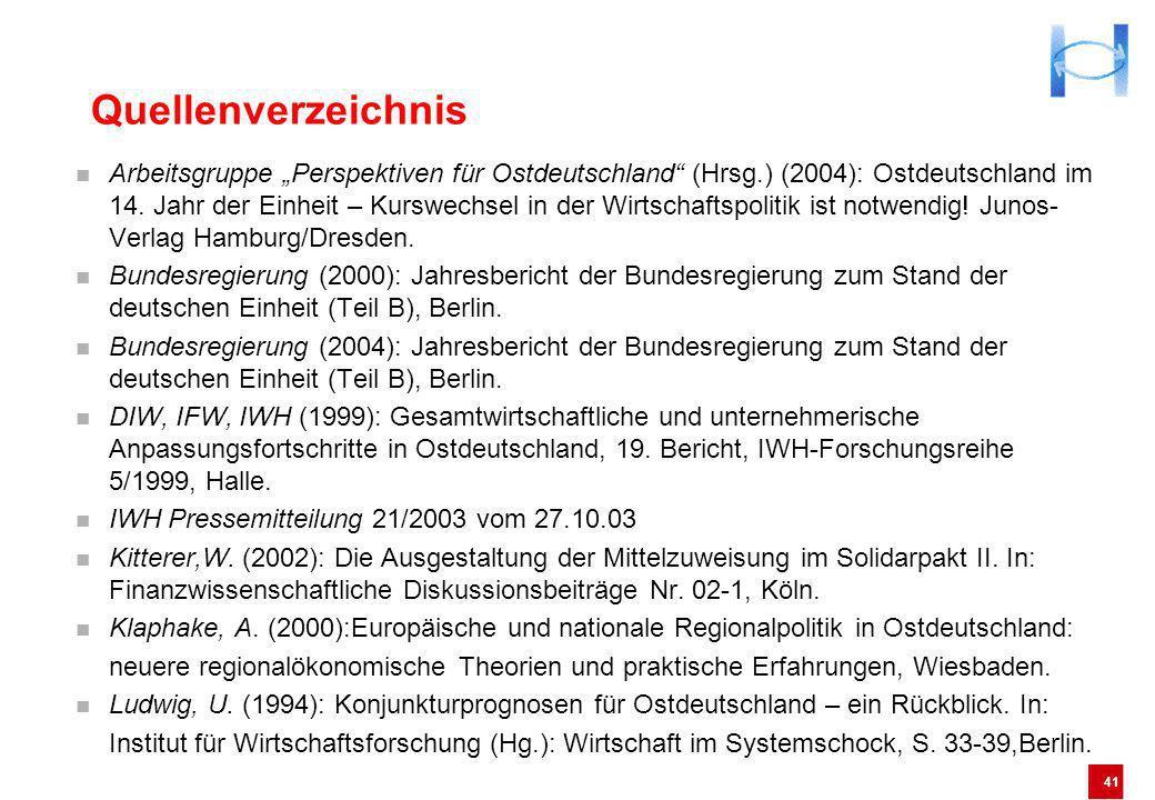 41 Quellenverzeichnis Arbeitsgruppe Perspektiven für Ostdeutschland (Hrsg.) (2004): Ostdeutschland im 14. Jahr der Einheit – Kurswechsel in der Wirtsc