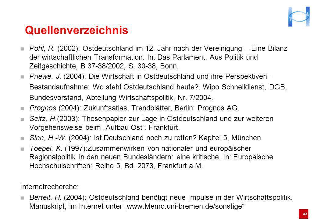 42 Pohl, R. (2002): Ostdeutschland im 12. Jahr nach der Vereinigung – Eine Bilanz der wirtschaftlichen Transformation. In: Das Parlament. Aus Politik