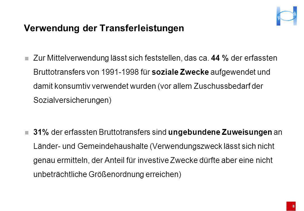 8 Verwendung der Transferleistungen Zur Mittelverwendung lässt sich feststellen, das ca. 44 % der erfassten Bruttotransfers von 1991-1998 für soziale