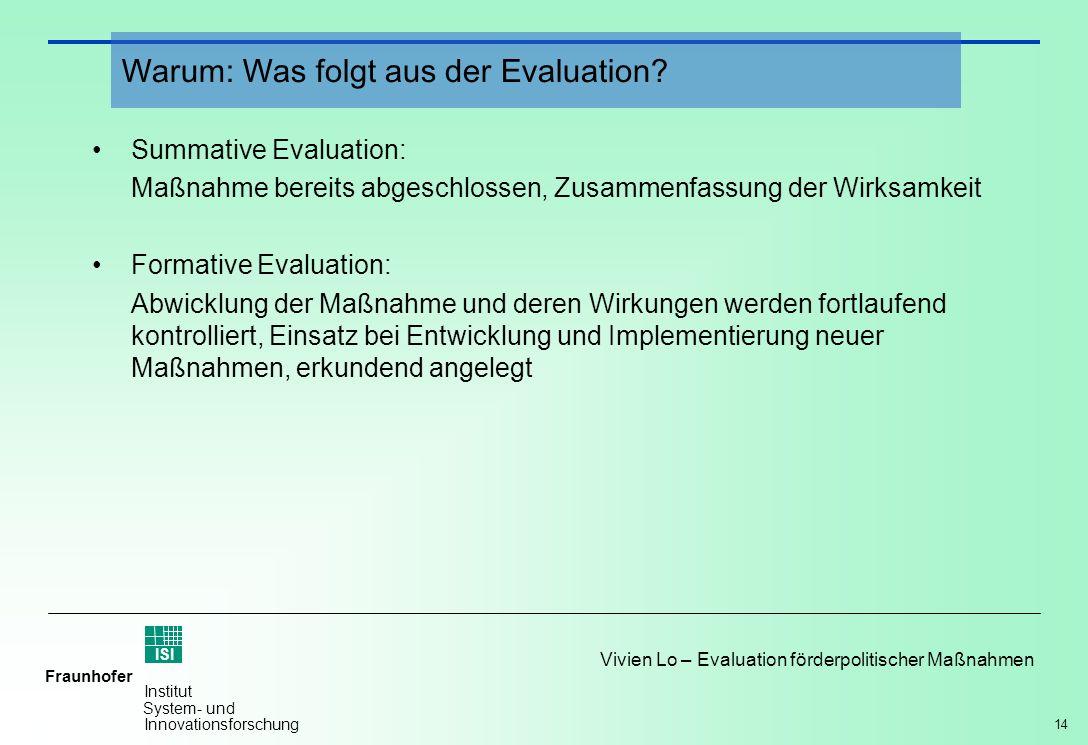 14 Vivien Lo – Evaluation förderpolitischer Maßnahmen Fraunhofer ISI Institut System- und Innovationsforschung Summative Evaluation: Maßnahme bereits