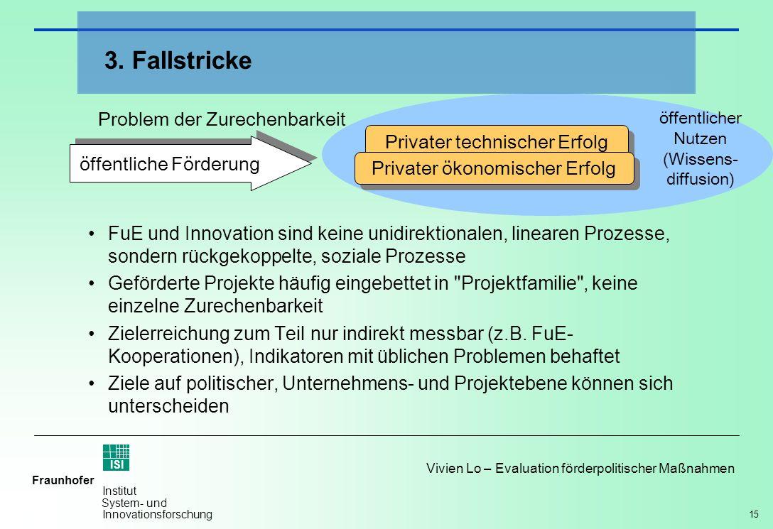 15 Vivien Lo – Evaluation förderpolitischer Maßnahmen Fraunhofer ISI Institut System- und Innovationsforschung FuE und Innovation sind keine unidirekt