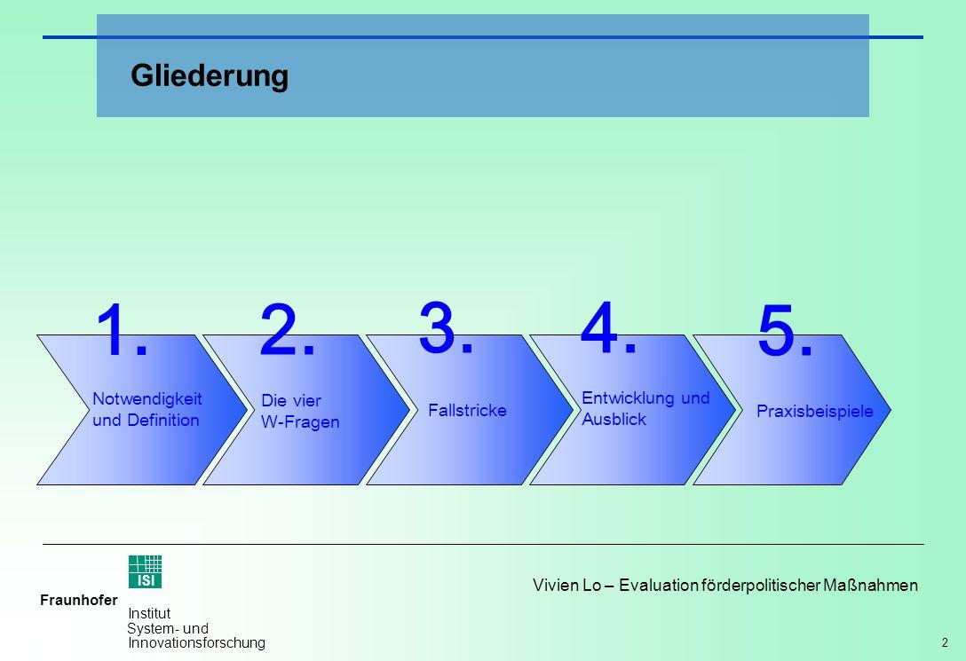 2 Vivien Lo – Evaluation förderpolitischer Maßnahmen Fraunhofer ISI Institut System- und Innovationsforschung Gliederung Notwendigkeit und Definition