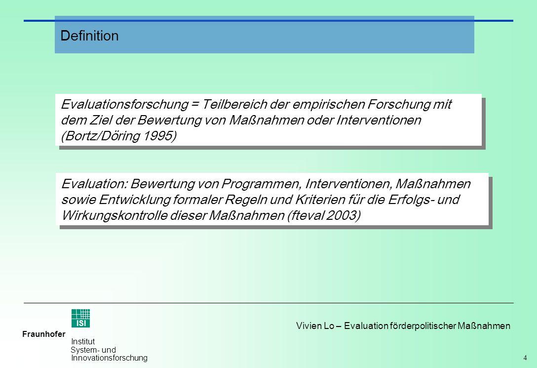 4 Vivien Lo – Evaluation förderpolitischer Maßnahmen Fraunhofer ISI Institut System- und Innovationsforschung Evaluationsforschung = Teilbereich der e