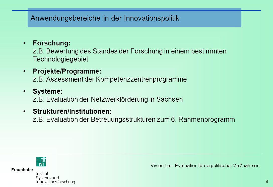 5 Vivien Lo – Evaluation förderpolitischer Maßnahmen Fraunhofer ISI Institut System- und Innovationsforschung Forschung: z.B. Bewertung des Standes de