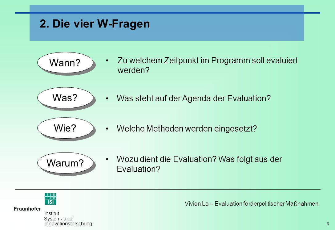 7 Vivien Lo – Evaluation förderpolitischer Maßnahmen Fraunhofer ISI Institut System- und Innovationsforschung Ex-ante Evaluationen Eigene Darstellung nach fteval Standards, Wien 2003 Interim/ begleitende Evaluationen Ex-post Evaluationen Transfer der Evaluationsergebnisse Implementation, Management Entwicklung, Design, Weiterentwicklung a) Wann: Zu welchem Zeitpunkt soll evaluiert werden?
