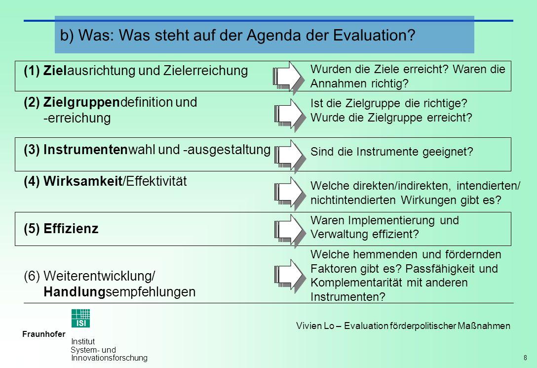 8 Vivien Lo – Evaluation förderpolitischer Maßnahmen Fraunhofer ISI Institut System- und Innovationsforschung (1)Zielausrichtung und Zielerreichung (2