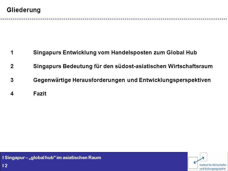 I Singapur – global hub im asiatischen Raum I 2 Gliederung 1Singapurs Entwicklung vom Handelsposten zum Global Hub 2Singapurs Bedeutung für den südost