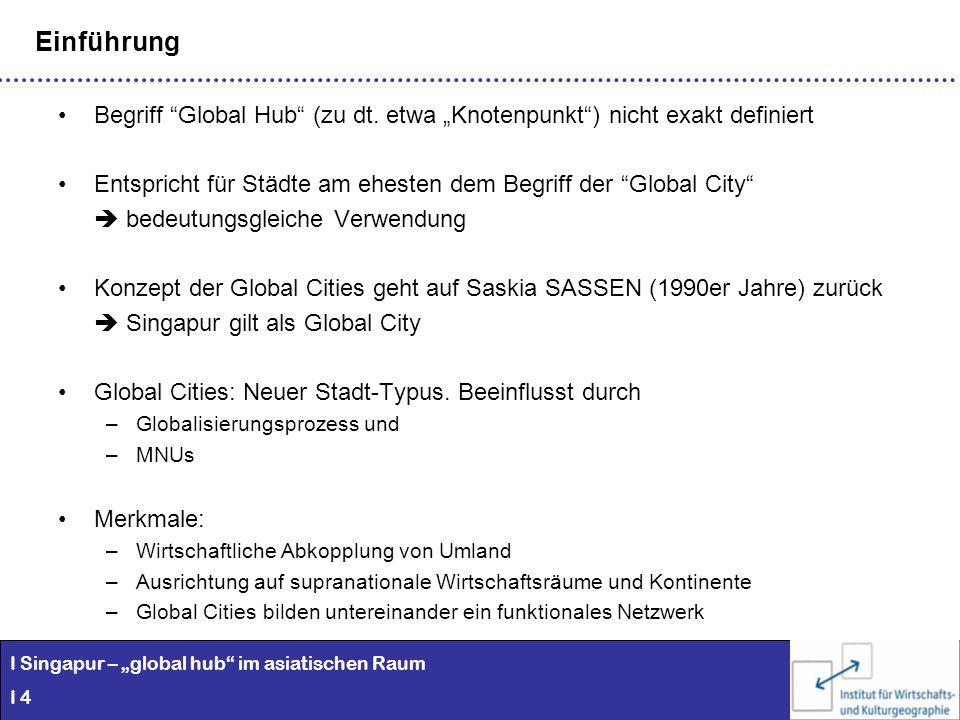 I Singapur – global hub im asiatischen Raum I 4 Einführung Begriff Global Hub (zu dt. etwa Knotenpunkt) nicht exakt definiert Entspricht für Städte am