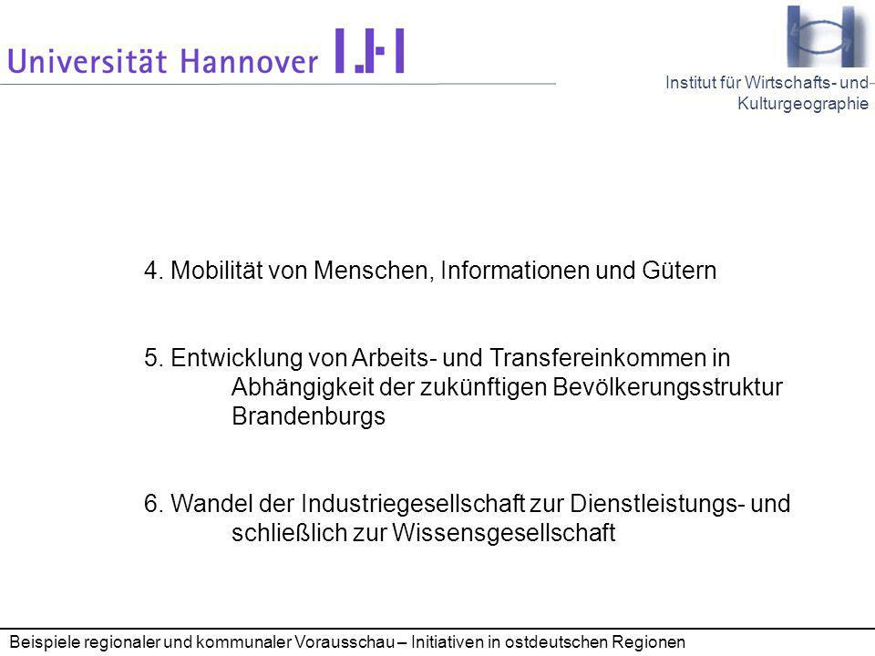 Seminar Kommunale Wirtschaftsförderung 28.11.2005 23 Institut für Wirtschafts- und Kulturgeographie Beispiele regionaler und kommunaler Vorausschau – Initiativen in ostdeutschen Regionen 4.