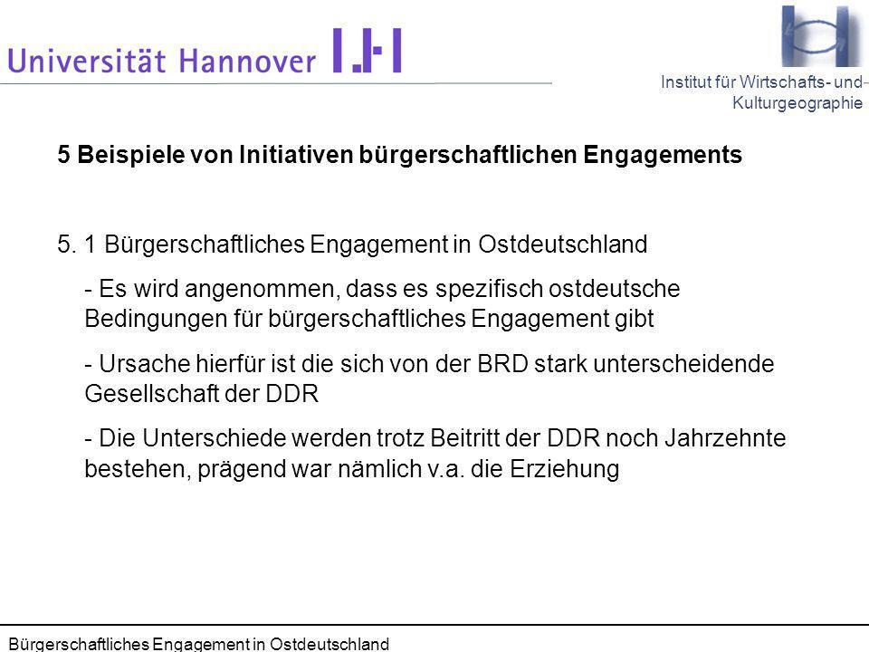 Seminar Kommunale Wirtschaftsförderung 28.11.2005 66 Institut für Wirtschafts- und Kulturgeographie Bürgerschaftliches Engagement in Ostdeutschland 5 Beispiele von Initiativen bürgerschaftlichen Engagements 5.