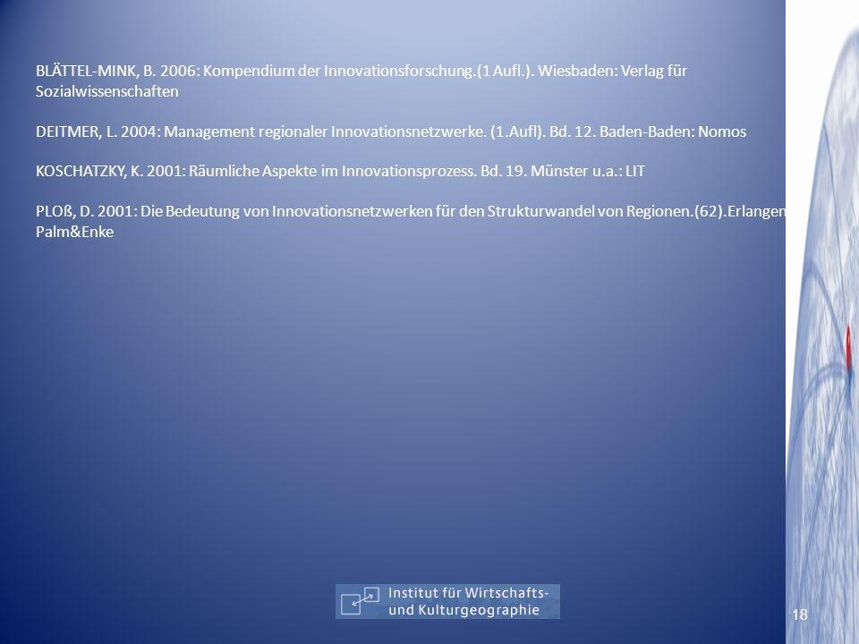 BLÄTTEL-MINK, B. 2006: Kompendium der Innovationsforschung.(1 Aufl.). Wiesbaden: Verlag für Sozialwissenschaften DEITMER, L. 2004: Management regional