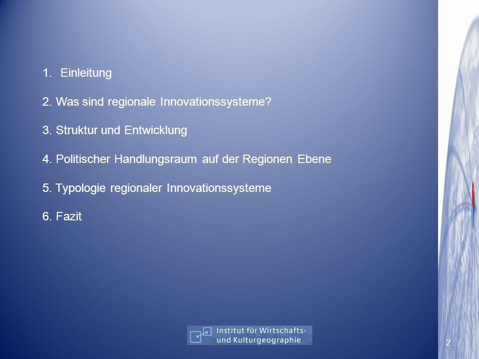 1.Einleitung 2. Was sind regionale Innovationssysteme? 3. Struktur und Entwicklung 4. Politischer Handlungsraum auf der Regionen Ebene 5. Typologie re