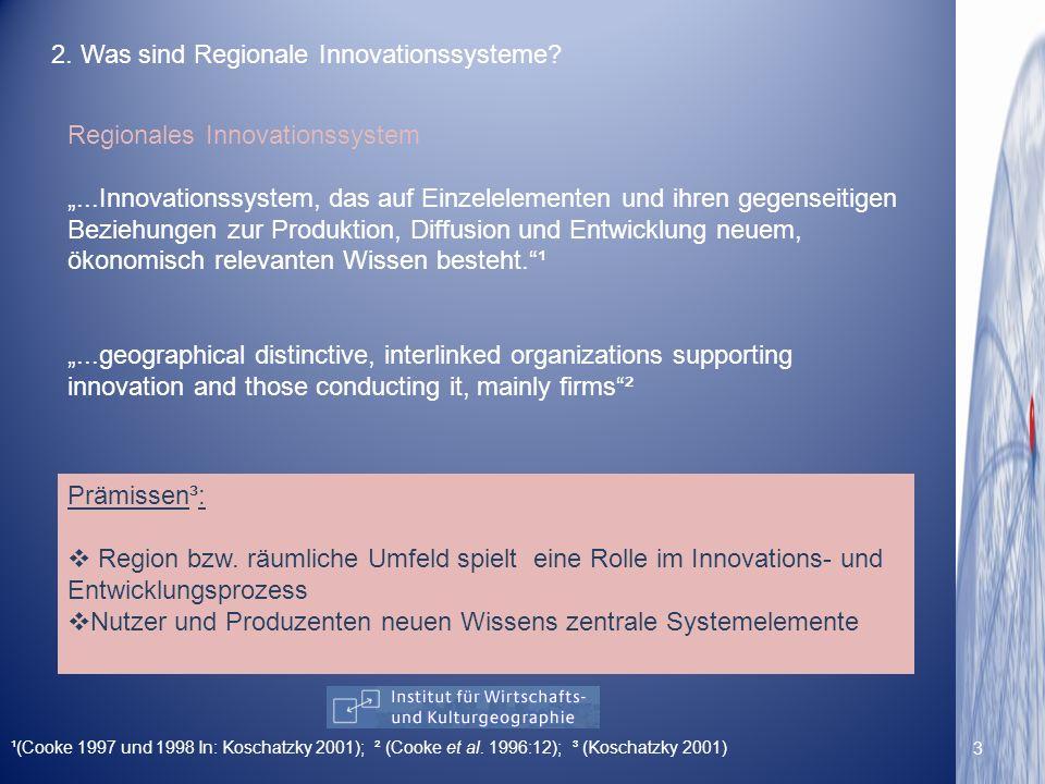 Regionales Innovationssystem...Innovationssystem, das auf Einzelelementen und ihren gegenseitigen Beziehungen zur Produktion, Diffusion und Entwicklun