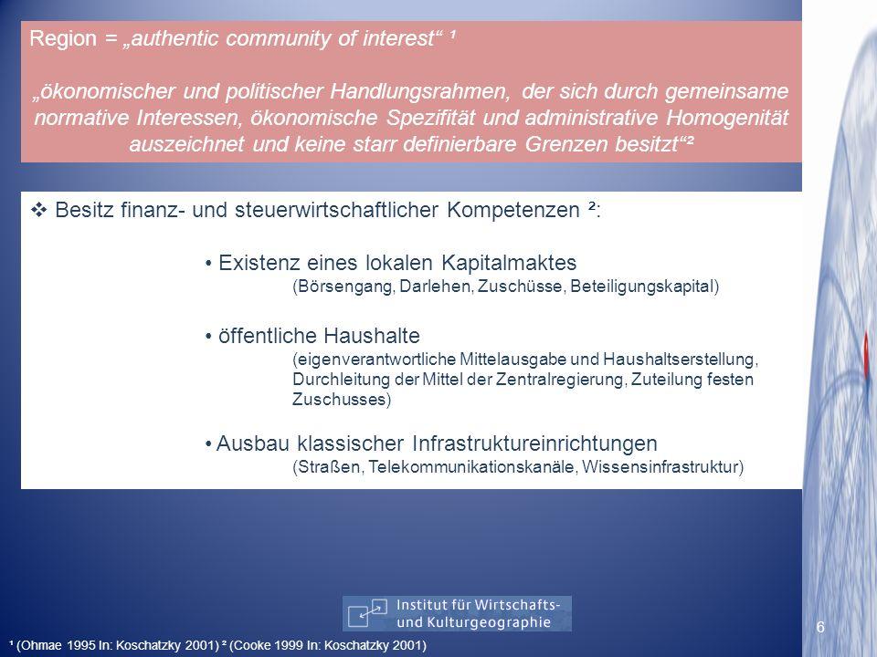 Region = authentic community of interest ¹ ökonomischer und politischer Handlungsrahmen, der sich durch gemeinsame normative Interessen, ökonomische S