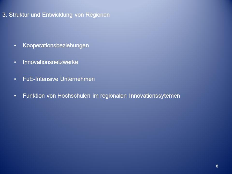 3. Struktur und Entwicklung von Regionen Kooperationsbeziehungen Innovationsnetzwerke FuE-Intensive Unternehmen Funktion von Hochschulen im regionalen