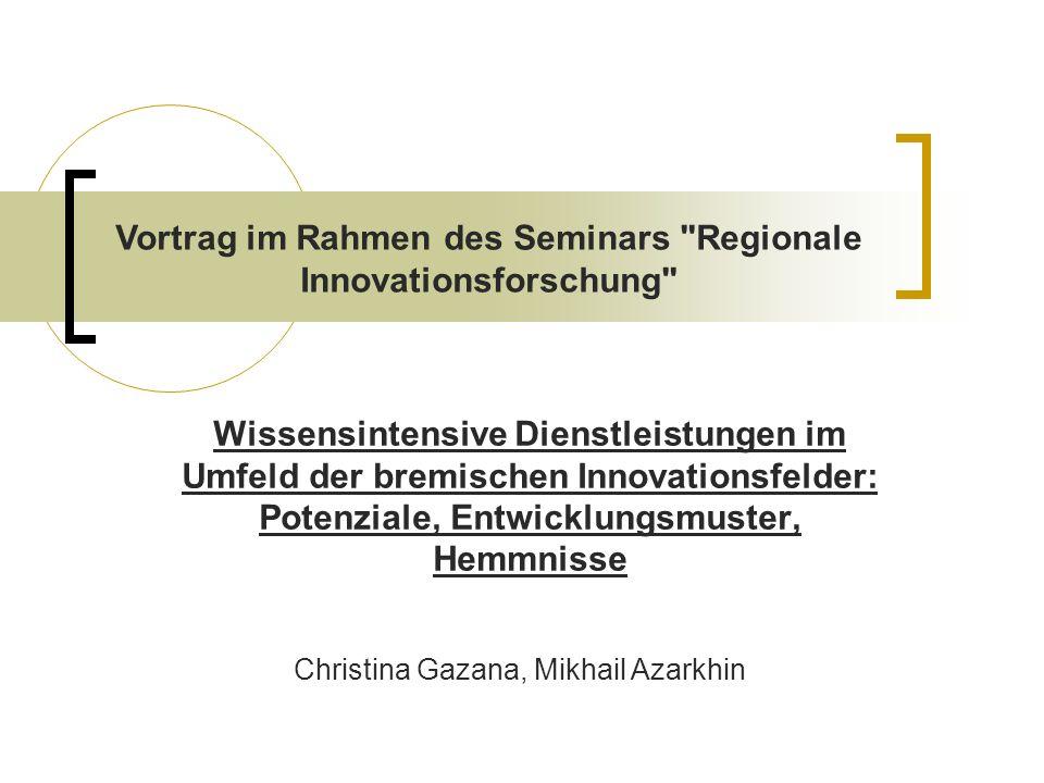 Wissensintensive Dienstleistungen im Umfeld der bremischen Innovationsfelder: Potenziale, Entwicklungsmuster, Hemmnisse gar keine Beschäftigten Umsatz