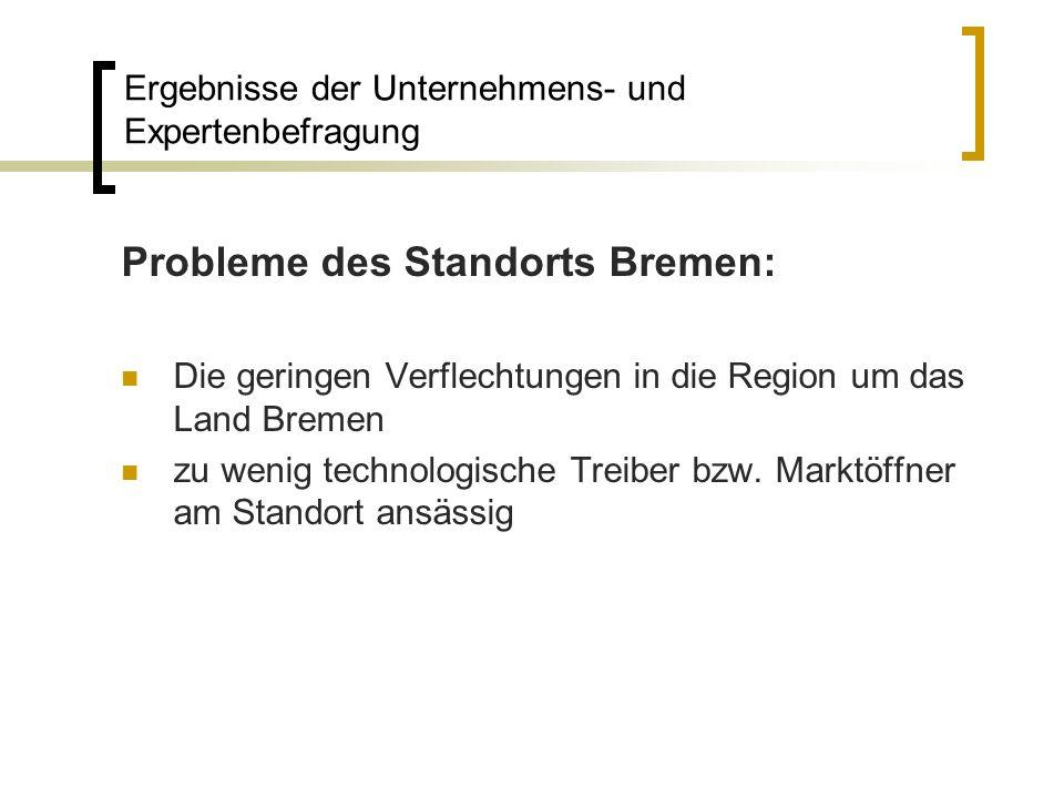 Probleme des Standorts Bremen: Die geringen Verflechtungen in die Region um das Land Bremen zu wenig technologische Treiber bzw. Marktöffner am Stando