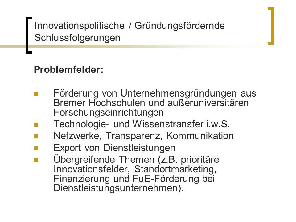 Problemfelder: Förderung von Unternehmensgründungen aus Bremer Hochschulen und außeruniversitären Forschungseinrichtungen Technologie- und Wissenstran