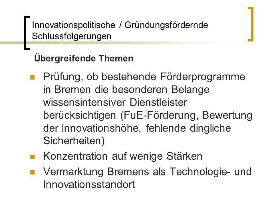 Prüfung, ob bestehende Förderprogramme in Bremen die besonderen Belange wissensintensiver Dienstleister berücksichtigen (FuE-Förderung, Bewertung der