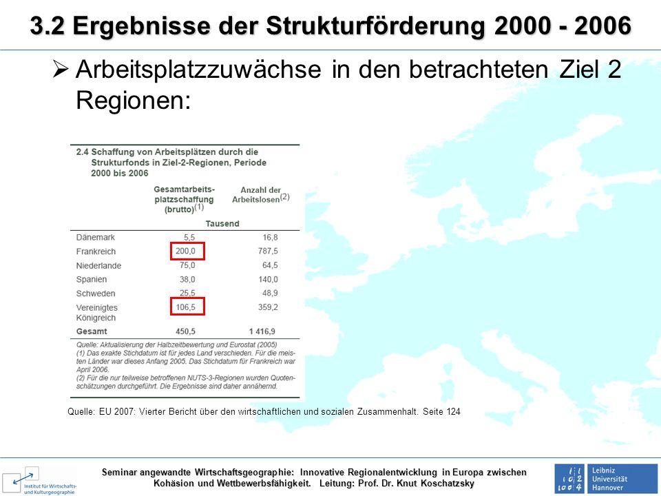 Seminar angewandte Wirtschaftsgeographie: Innovative Regionalentwicklung in Europa zwischen Kohäsion und Wettbewerbsfähigkeit. Leitung: Prof. Dr. Knut