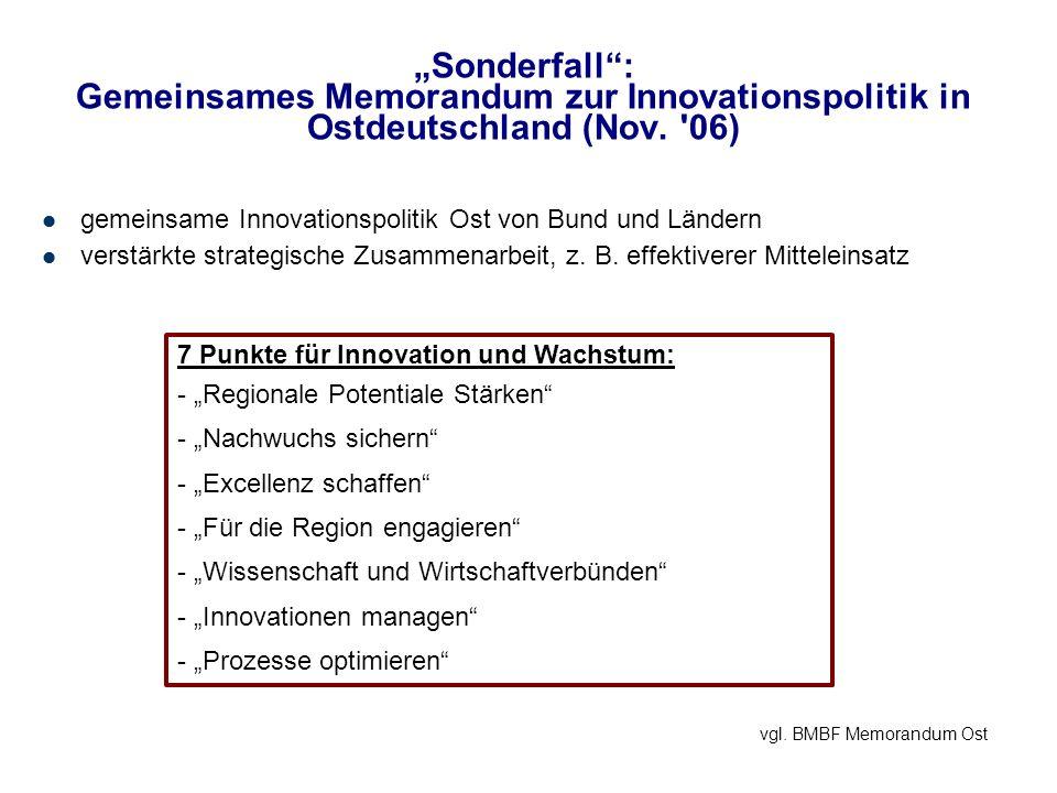 Sonderfall: Gemeinsames Memorandum zur Innovationspolitik in Ostdeutschland (Nov. '06) gemeinsame Innovationspolitik Ost von Bund und Ländern verstärk