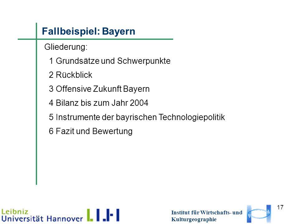 17 Institut für Wirtschafts- und Kulturgeographie Fallbeispiel: Bayern G Gliederung: 1 Grundsätze und Schwerpunkte 2 Rückblick 3 Offensive Zukunft Bay