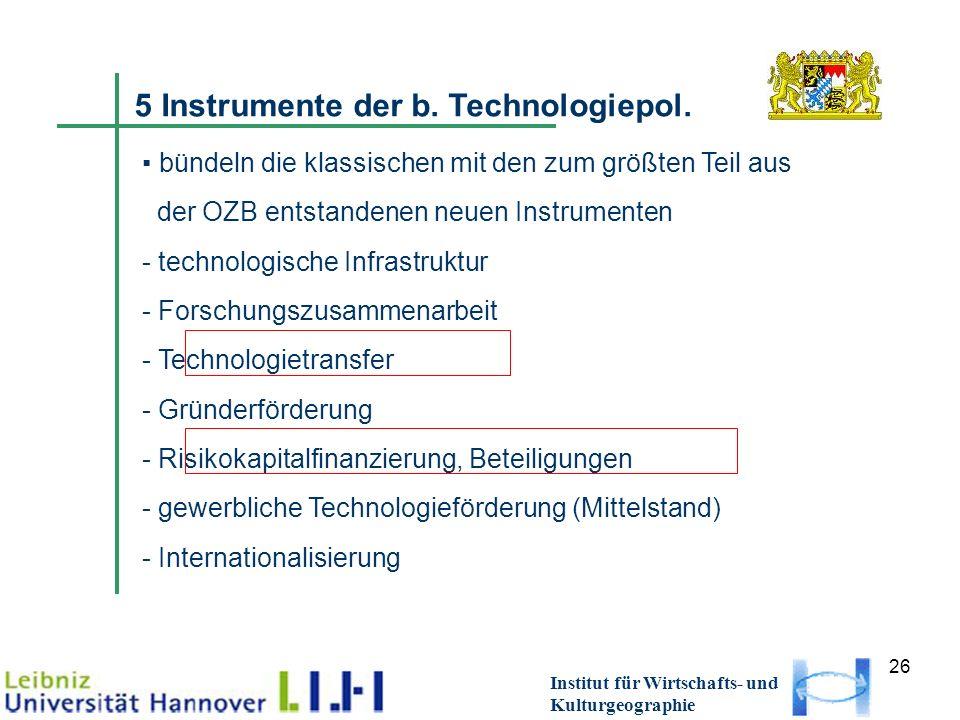 26 Institut für Wirtschafts- und Kulturgeographie 5 Instrumente der b. Technologiepol. bündeln die klassischen mit den zum größten Teil aus der OZB en