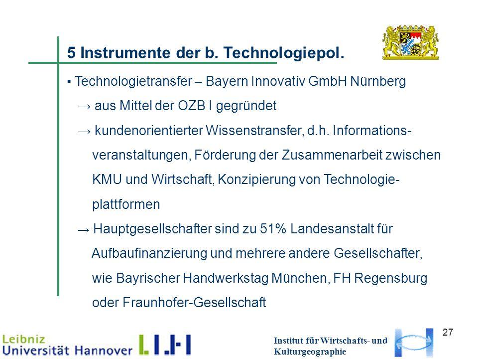 27 Institut für Wirtschafts- und Kulturgeographie 5 Instrumente der b. Technologiepol. Technologietransfer – Bayern Innovativ GmbH Nürnberg aus Mittel
