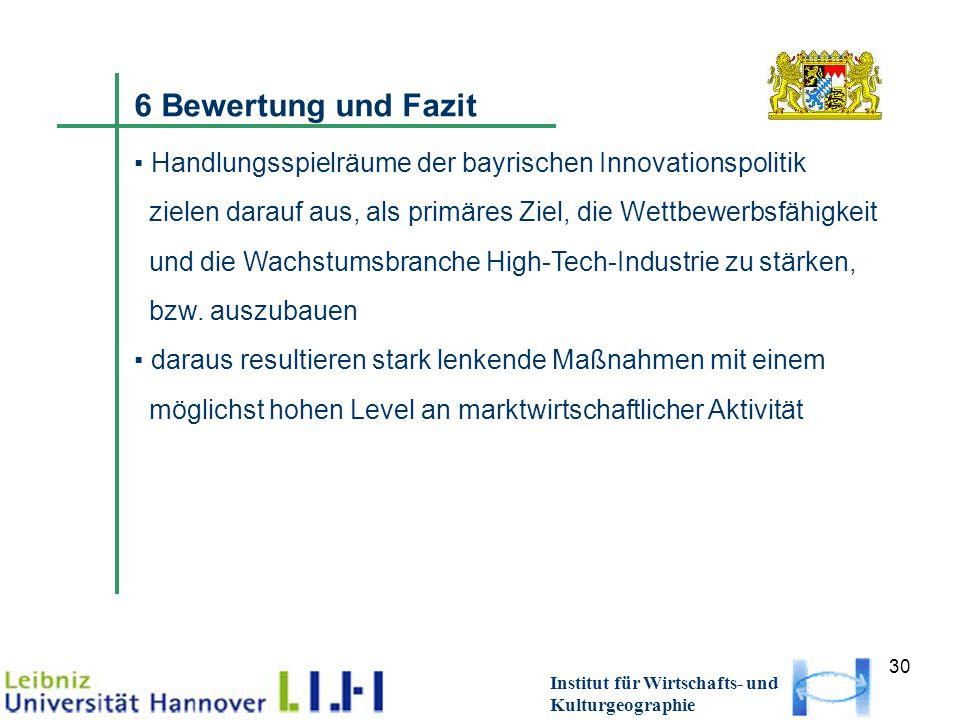 30 Institut für Wirtschafts- und Kulturgeographie 6 Bewertung und Fazit Handlungsspielräume der bayrischen Innovationspolitik zielen darauf aus, als primäres Ziel, die Wettbewerbsfähigkeit und die Wachstumsbranche High-Tech-Industrie zu stärken, bzw.