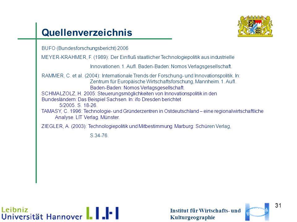 31 Institut für Wirtschafts- und Kulturgeographie Quellenverzeichnis BUFO (Bundesforschungsbericht) 2006 MEYER-KRAHMER, F. (1989): Der Einfluß staatli
