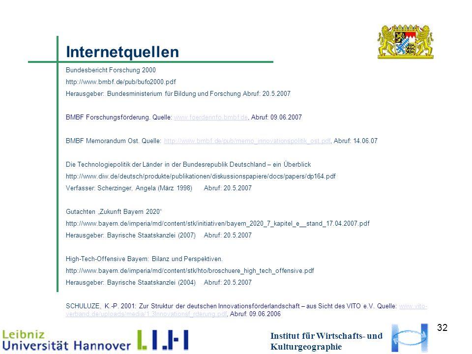 32 Institut für Wirtschafts- und Kulturgeographie Internetquellen Bundesbericht Forschung 2000 http://www.bmbf.de/pub/bufo2000.pdf Herausgeber: Bundesministerium für Bildung und Forschung Abruf: 20.5.2007 BMBF Forschungsförderung.