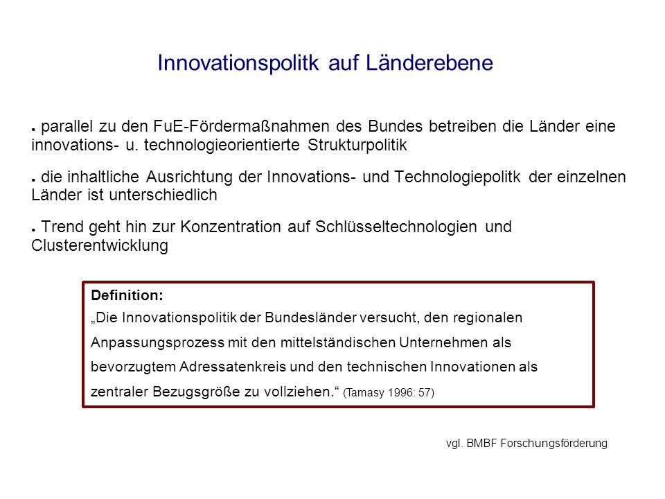 Innovationspolitk auf Länderebene in allen Ländern stellt die Förderung von KMU einen wichtigen Aspekt in der Innovationspolitik dar auf KMU entfallen in Deutschland 70% der Beschäftigten, knapp 60% der BWS und knapp 50% der Bruttoinvestitionen Schwächen von KMU: - Eigenkapitalschwäche - Technologietransfer Instrumente zu deren Behebung vgl.
