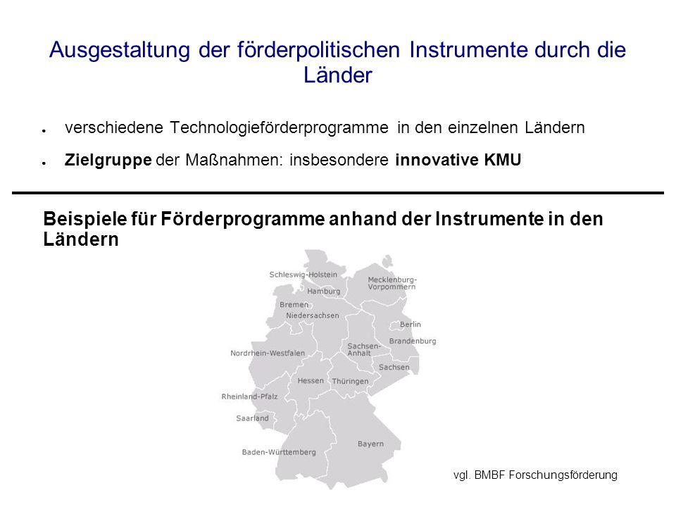 Ausgestaltung der förderpolitischen Instrumente durch die Länder verschiedene Technologieförderprogramme in den einzelnen Ländern Zielgruppe der Maßnahmen: insbesondere innovative KMU Beispiele für Förderprogramme anhand der Instrumente in den Ländern vgl.