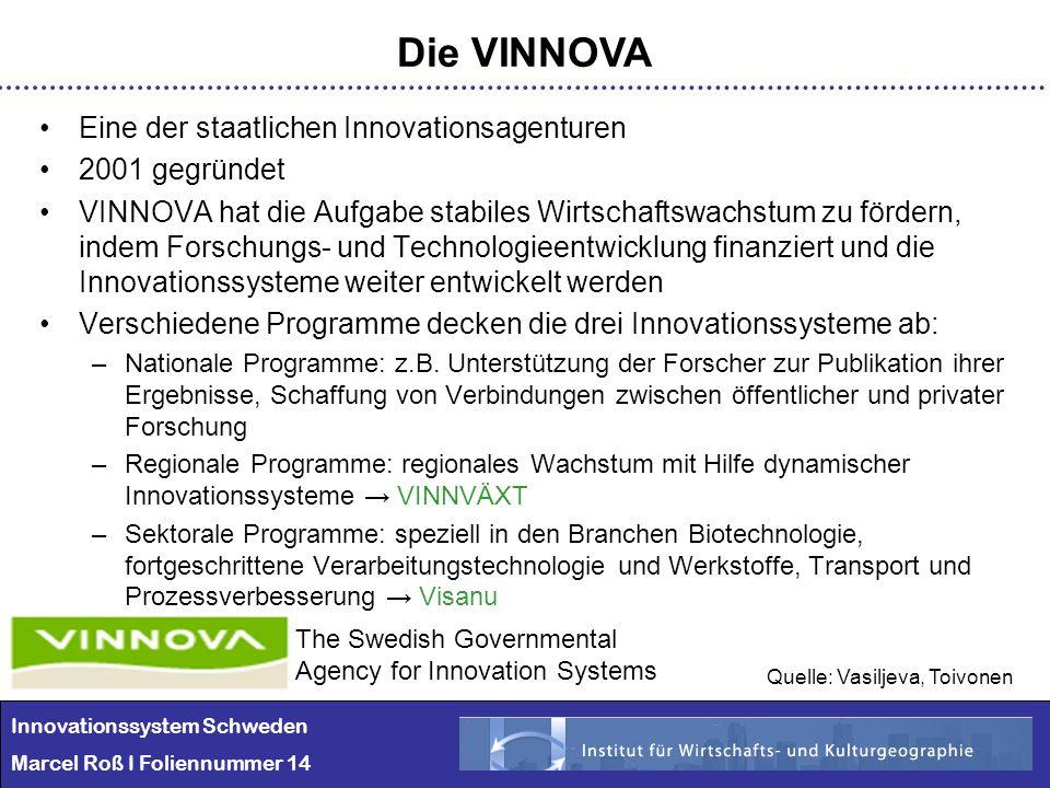 Innovationssystem Schweden Marcel Roß I Foliennummer 14 Die VINNOVA Eine der staatlichen Innovationsagenturen 2001 gegründet VINNOVA hat die Aufgabe s