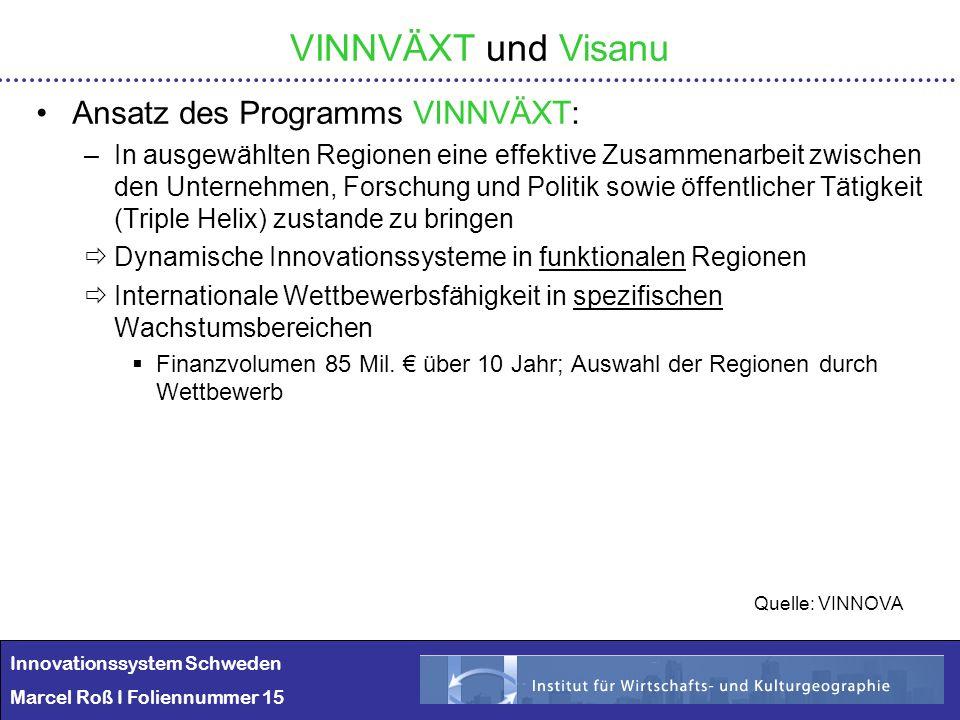 Innovationssystem Schweden Marcel Roß I Foliennummer 15 VINNVÄXT und Visanu Ansatz des Programms VINNVÄXT: –In ausgewählten Regionen eine effektive Zu