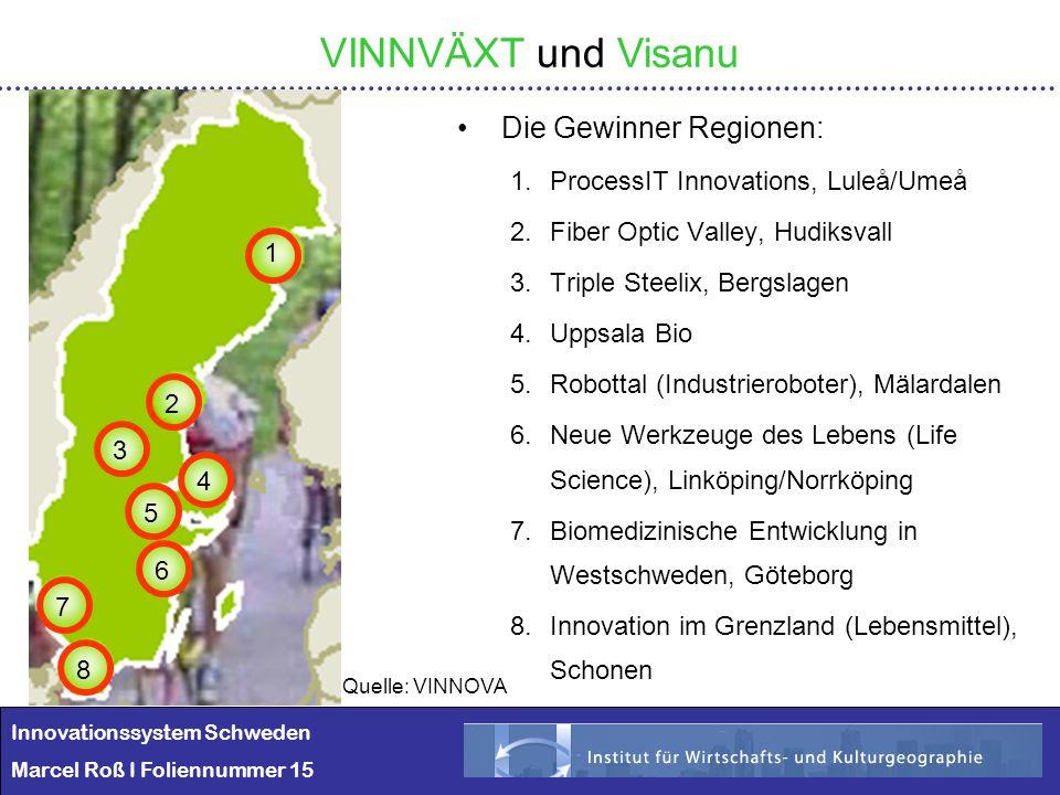 Innovationssystem Schweden Marcel Roß I Foliennummer 15 VINNVÄXT und Visanu Die Gewinner Regionen: 1.ProcessIT Innovations, Luleå/Umeå 2.Fiber Optic V