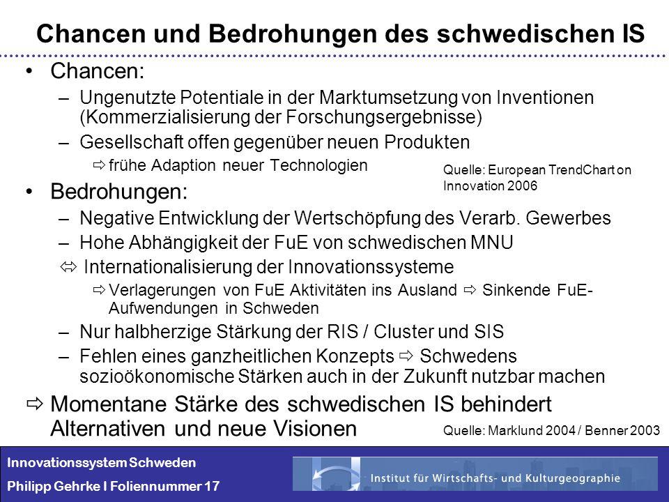 Chancen: –Ungenutzte Potentiale in der Marktumsetzung von Inventionen (Kommerzialisierung der Forschungsergebnisse) –Gesellschaft offen gegenüber neue