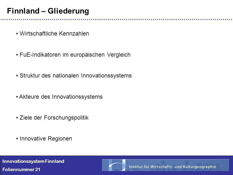 Innovationssystem Finnland Foliennummer 21 Finnland – Gliederung Wirtschaftliche Kennzahlen FuE-Indikatoren im europäischen Vergleich Struktur des nat