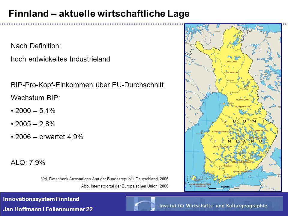 Innovationssystem Finnland Jan Hoffmann I Foliennummer 22 Finnland – aktuelle wirtschaftliche Lage Nach Definition: hoch entwickeltes Industrieland BI