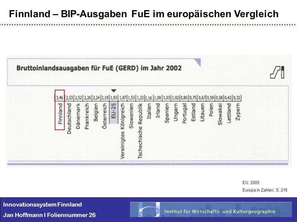 Innovationssystem Finnland Jan Hoffmann I Foliennummer 26 Finnland – BIP-Ausgaben FuE im europäischen Vergleich EU, 2005: Europa in Zahlen, S. 216