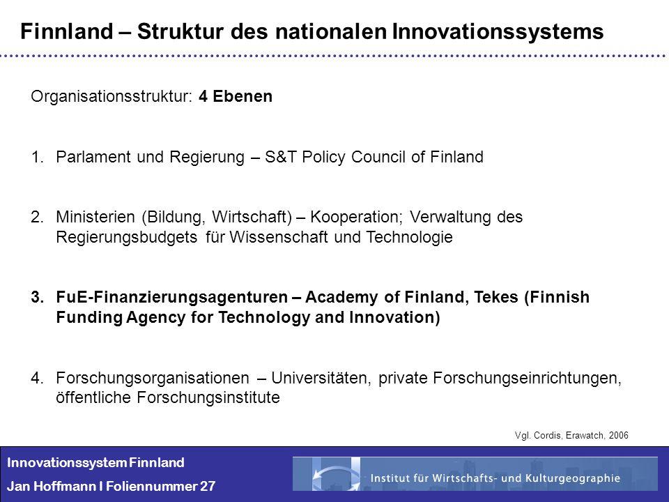 Innovationssystem Finnland Jan Hoffmann I Foliennummer 27 Finnland – Struktur des nationalen Innovationssystems Organisationsstruktur: 4 Ebenen 1.Parl